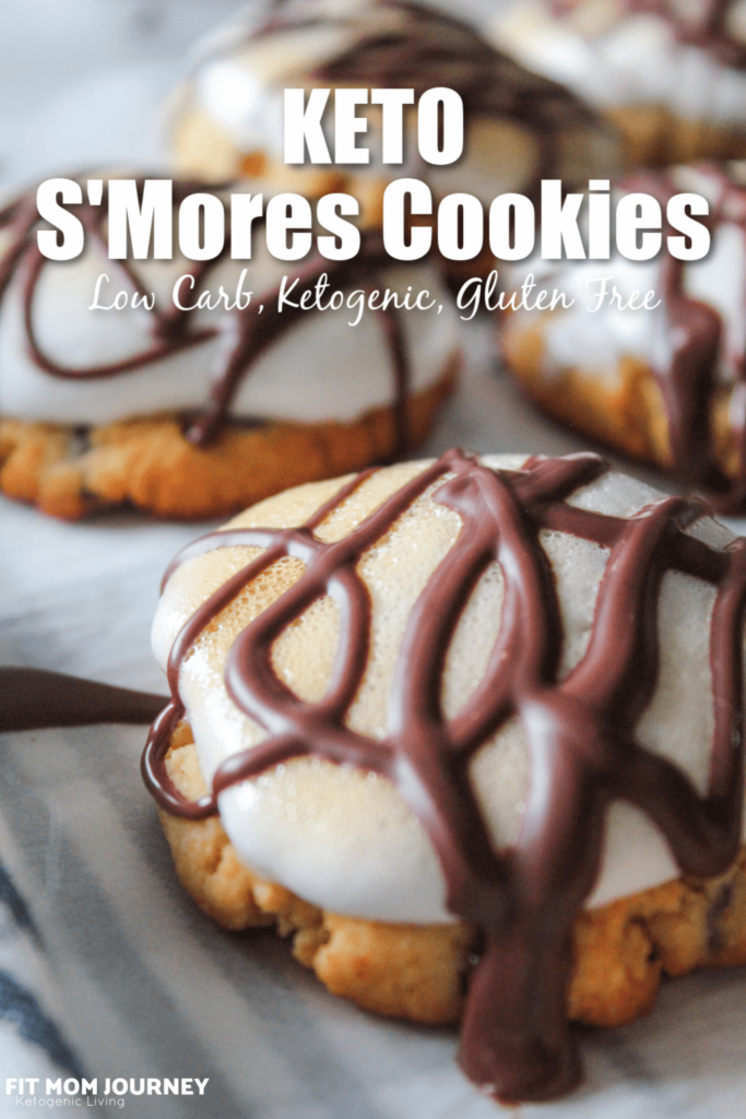 Chewy Keto S'Mores Cookies topped with keto marshmallows and sugar free chocolate - delicious and no campfire required!