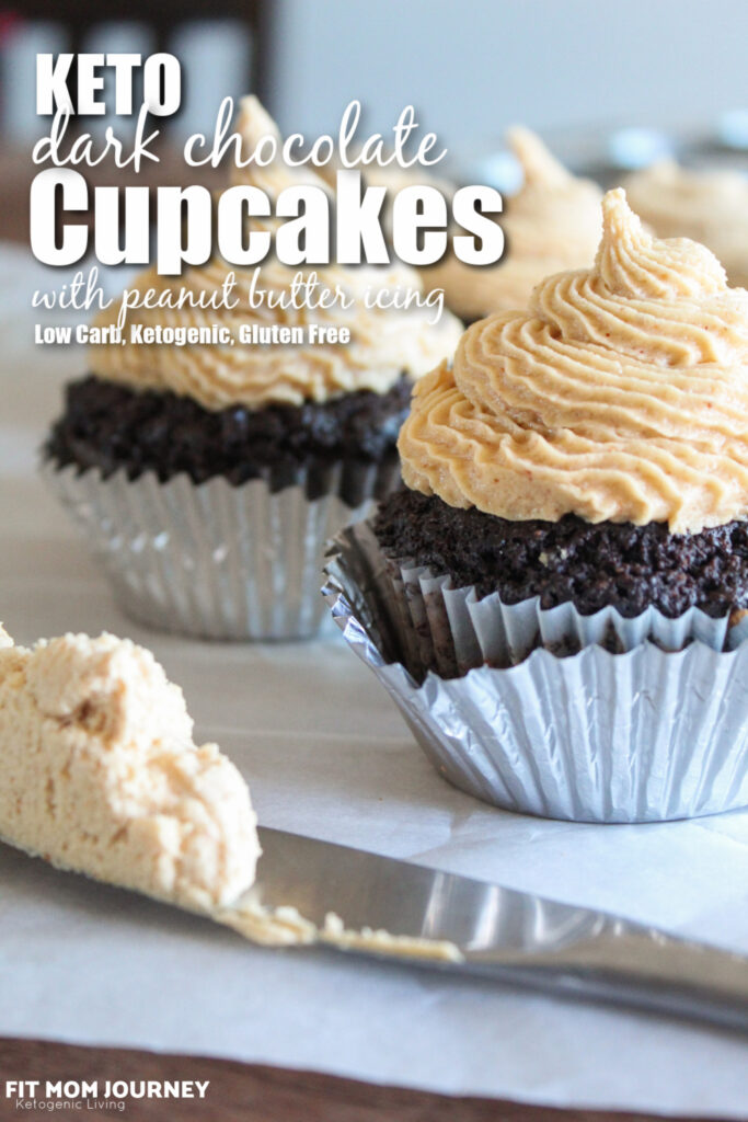 Creamy keto peanut butter icing tops rich dark chocolate cupcakes. These delicious treats pack tons of flavor!