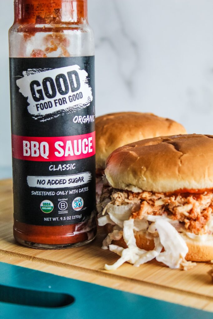 When warm weather comes around, I start putting easy, refreshing meals in the rotation, including these Low Carb Pulled BBQ Chicken Sandwiches. Pulled chicken with keto barbecue sauce, and keto coleslaw on a low carb bun - these are easy to put together and great during hot weather.