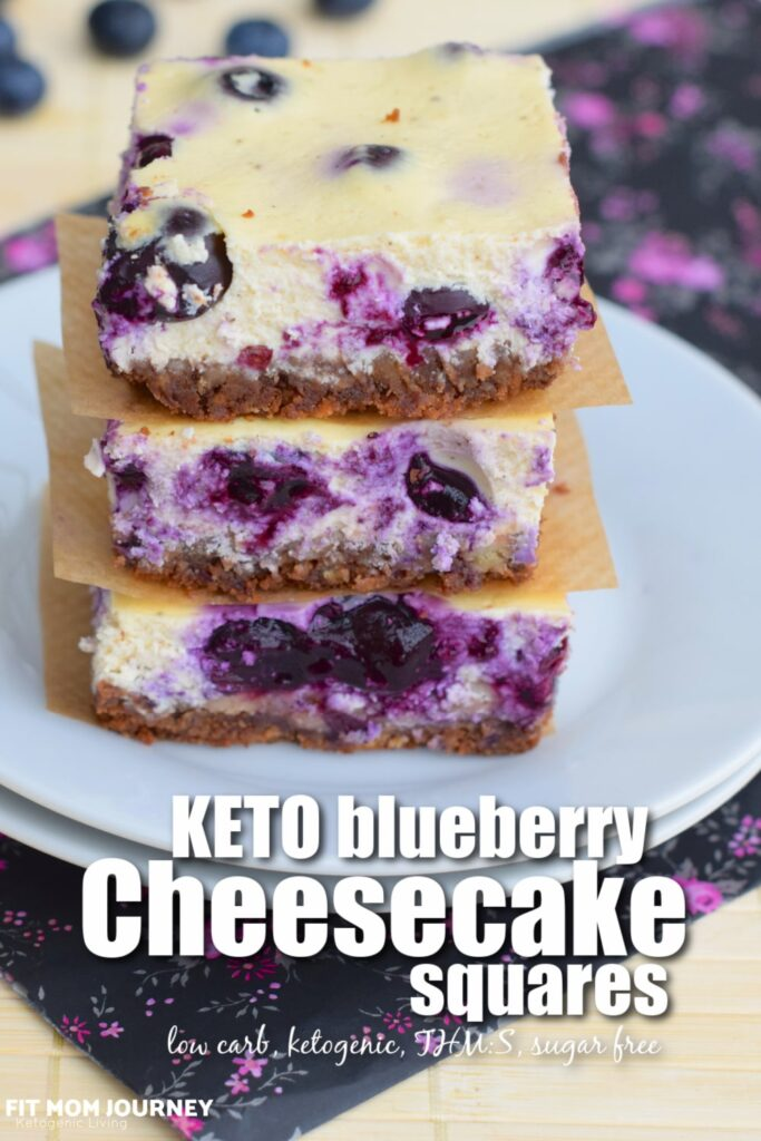 Creamy cheesecake swirled with blueberries. Baked a simple graham-like ketogenic crust, these Keto Blueberry Cheesecake Squares are a refreshing dessert!