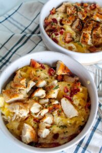 All the goodness you love about Pasta Carbonara, but low carb! Low Carb Spaghetti Squash Carbonara is cheesy and bacon-y, but much lighter on carbs. This meal is easy, healthy, and pairs well with parmesan crusted chicken for a well rounded meal.