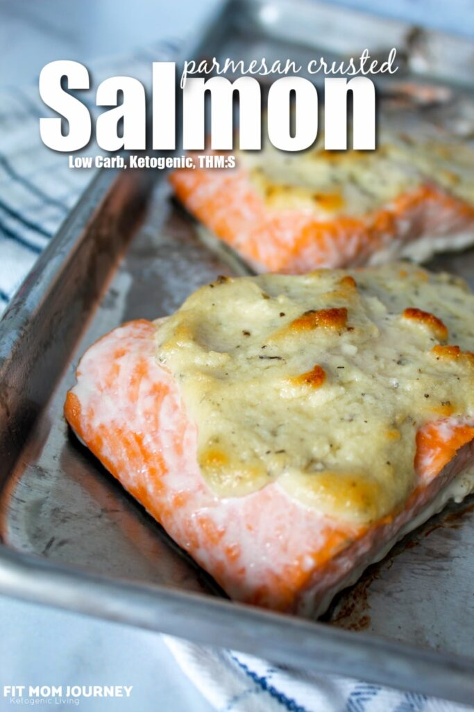 Simple Parmesan Crusted Salmon is a tender, flaky, baked salmon topped with a crust of parmesan and herbs. Simple, flavorful, using no special ingredients. Low Carb, Ketogenic, and a THM:S.